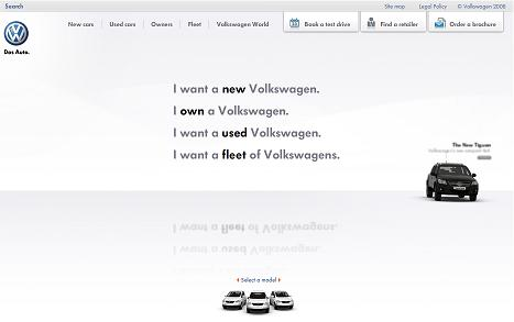 Volkswagen UK site internet